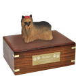 Wholesale long haired Yorkshire Terrier figurine and wood urn with engraved plaque