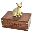 Chihuahua Dog Figurine Wood Urn engraved directly into wood