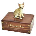 Chihuahua Dog Figurine Wood Urn engraved directly into wood with gold fill