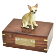 Chihuahua White and Tan wood urn with engraved plaque