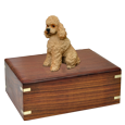 Wholesale Apricot Poodle with Sport Cut Wood Urn