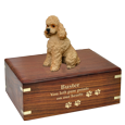 Wholesale Apricot Poodle Wood Urn with gold filled engraved front