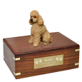Wholesale Apricot Poodle Wood Urn shown with engraved plaque