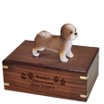Wholesale Shih Tzu Figurine with engraved wood Urn