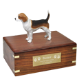 Beagle Figurine Wood Urn with engraved plaque