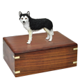 Wholesale Black & White Husky with Brown Eyes Figurine with Urn Base