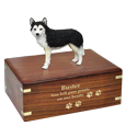 Wholesale Black & White Husky with Urn Base shown engraved with gold fill