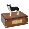 Wholesale Black & White Husky White Husky urn base with engraved plaque