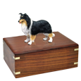 Border Collie, Tricolor dog figurine with wood urn