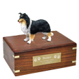 Border Collie dog figurine wood urn with engraved plaque