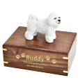 Bichon Frise figurine medium wood urn base engraved with gold fill