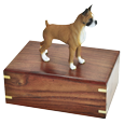 Boxer dog figurine on medium wood urn base
