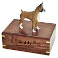 Boxer dog figurine with medium wood urn base engraved