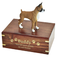 Boxer dog figurine with medium wood urn base engraved with gold fill