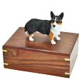 Welsh Corgi Cardigan figurine medium wood urn