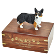 Welsh Corgi Cardigan figurine on medium wood urn engraved with gold fill