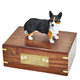 Welsh Corgi Cardigan figurine medium wood urn with plaque