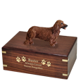 Wholesale Dachshund Red, Longhair Dog Figurine Wood Urn engraved with gold
