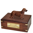 Wholesale Dachshund Red, Longhair Dog Figurine Wood Urn with engraved plaque