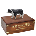 Border Collie dog figurine wood urn engraved with gold fill