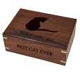 Perfect Wooden Box Cat Urn Medium shown with engraved silhouette