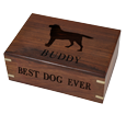 Perfect Wooden Box Pet Urn Medium shown with engraved silhouette