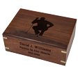 Wholesale Perfect Wooden Box Urn Medium shown with engraved clip art