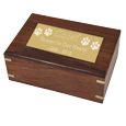 Large engraved plaque shown on top of wood cat urn