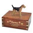 Wholesale Airedale terrier dog figurine urn with gold engraving