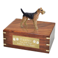 Wholesale Airedale terrier dog figurine urn with engraved plaque
