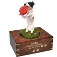 Wholesale Black + White Jack Russell Terrier urn engraved with gold fill