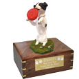 Wholesale Black + White Jack Russell Terrier urn with engraved plaque
