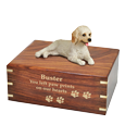 Labradoodle dog figurine wood urn engraved with gold fill