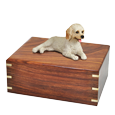 Labradoodle dog figurine wood urn