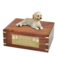 Labradoodle dog figurine wood urn with brass engraved plaque