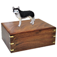 Wholesale Blue Eyed Black and White Husky figurine urn