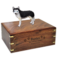 Wholesale Blue Eyed Black and White Husky figurine urn engraved