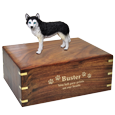 Wholesale Blue Eyed Black and White Husky figurine urn engraved with gold