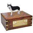 Wholesale Blue Eyed Black and White Husky figurine urn with engraved plaque