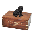 Wholesale Shar Pei dog figurine urn with gold engraved front