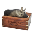 Wholesale Silver and Black German Shepherd Wood Urn with engraved front