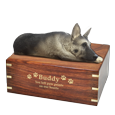 Wholesale Silver and Black German Shepherd- Laying Wood Urn gold engraved