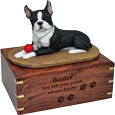 Wholesale Boston Terrier dog figurine wood urn engraved with name