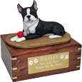 Wholesale Boston Terrier dog figurine wood urn with engraved plaque