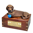 Dachshund dog urn with engraved plaque