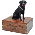 Wholesale black Labrador Retriever wood urn engraved