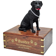 Wholesale black Labrador Retriever wood urn engraved with gold letters