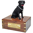 Wholesale black Labrador Retriever wood urn with engraved plaque