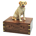 Wholesale Yellow Labrador Retriever figurine urn engraved with name and message