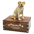 Wholesale Yellow Labrador Retriever figurine urn engraved with gold letters